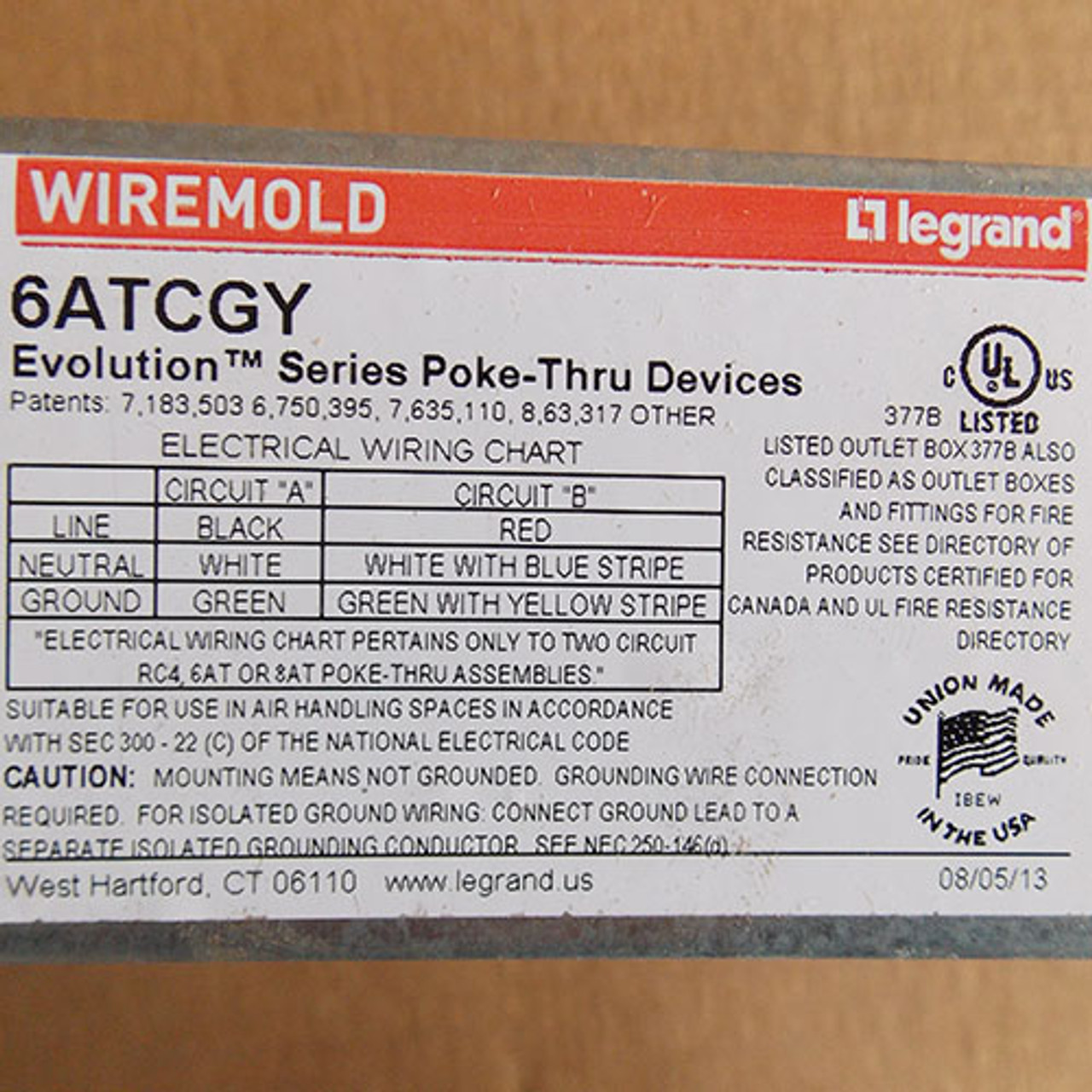 "Wiremold 6ATCGY Evolution Series Poke-Thru Device Assembly, 6"", Gray, Die Cast - New"
