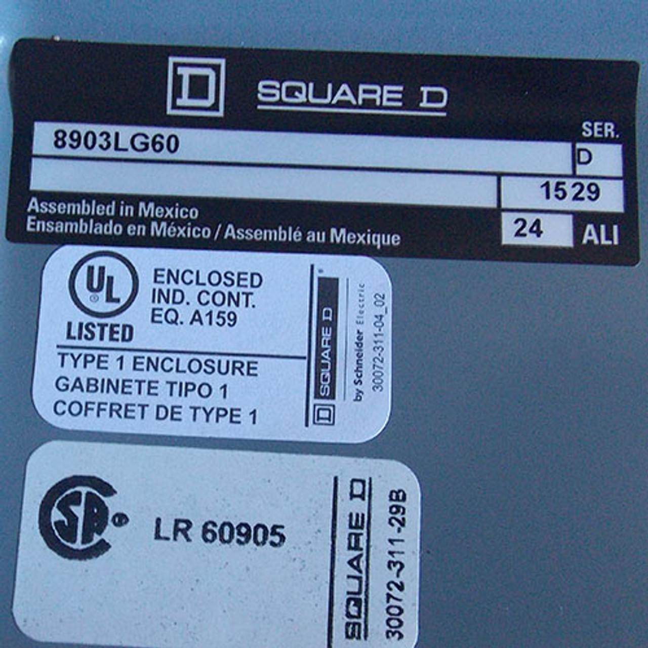 Square D 8903-LG60 Lighting Contactor 6 Pole 30 Amp 120V Coil Nema 1 - New