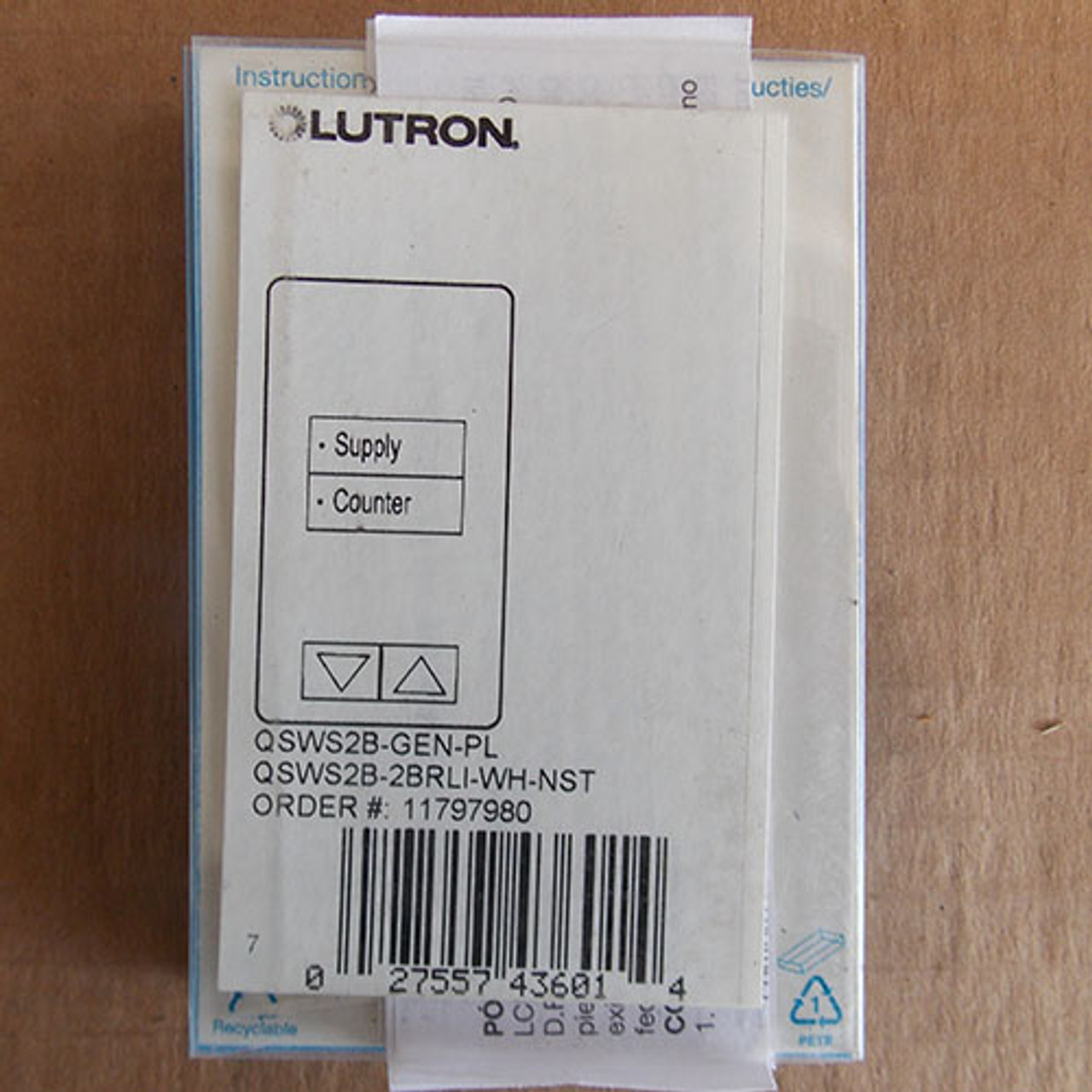 "Lutron QSWS2B-2BRLI-WH-NST White Grafik Eye QS 2 Button Engraved ""Supply/Counter"" Wall Station Keypad Raise/Lower - New"