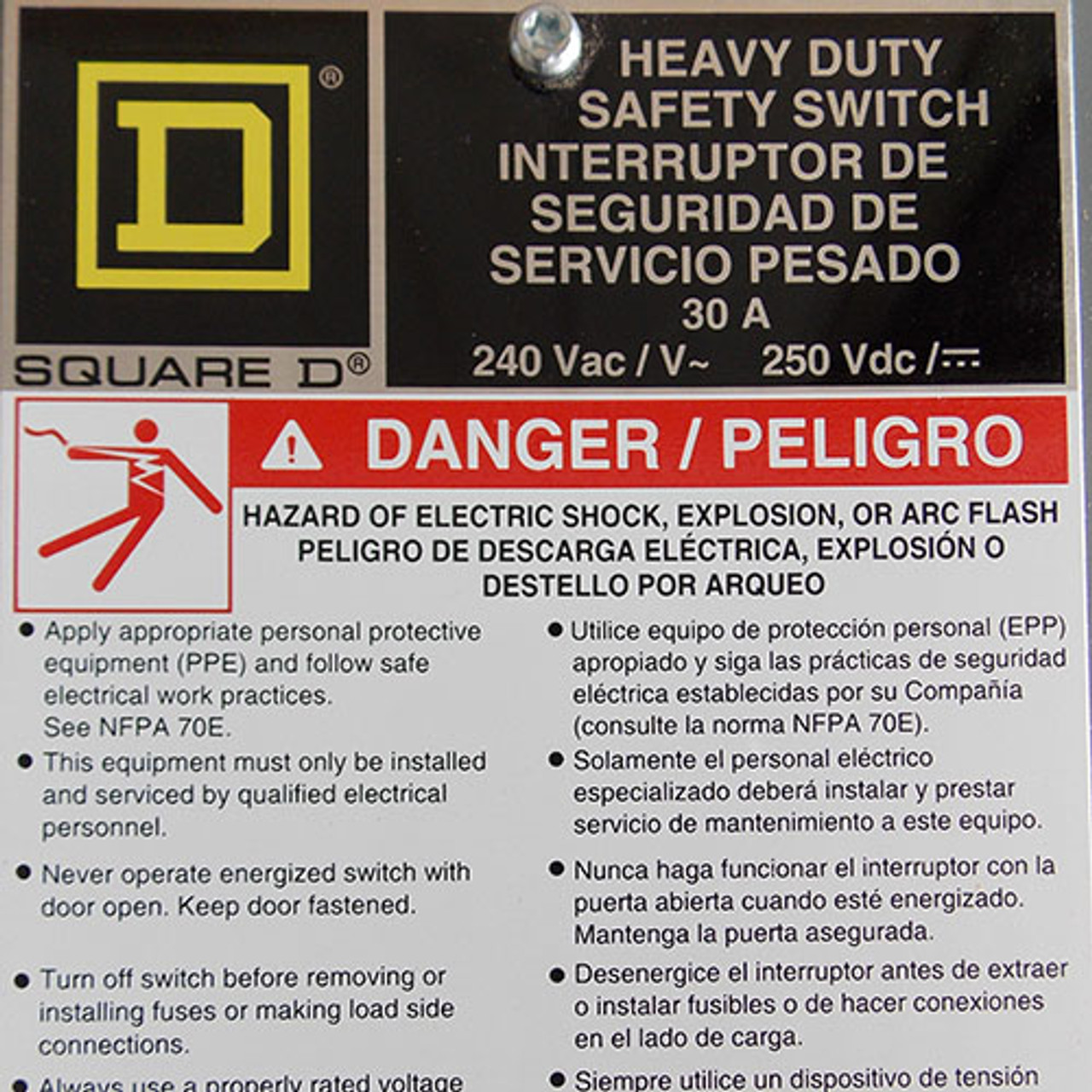 Square D H221N HD Fusible Safety Switch 30 Amp 240VAC 1PH Nema 1 - New