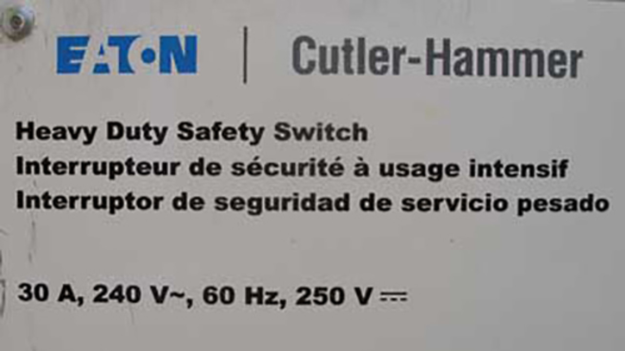 Eaton Cutler Hammer DH221NGK Heavy Duty Fusible Safety Switch 30A 240VAC Nema 1 - New