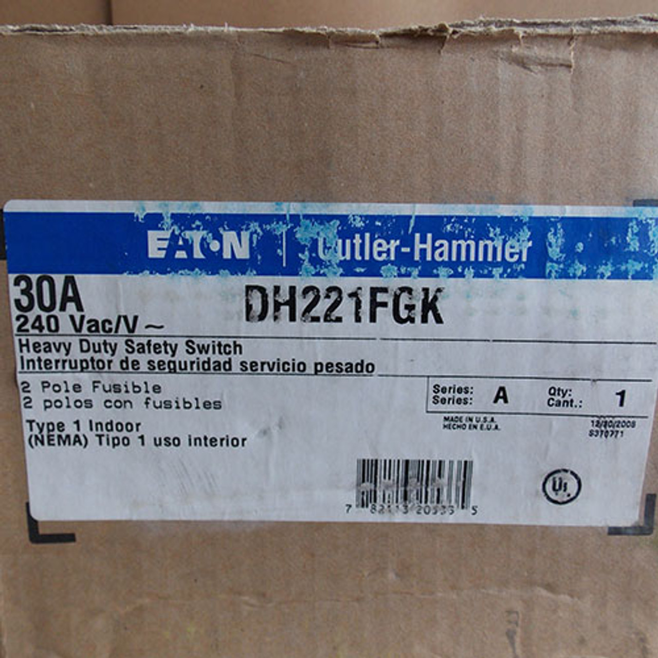 Eaton DH221FGK HD Fusible Safety Switch 30 Amp 240V Nema 1 - New