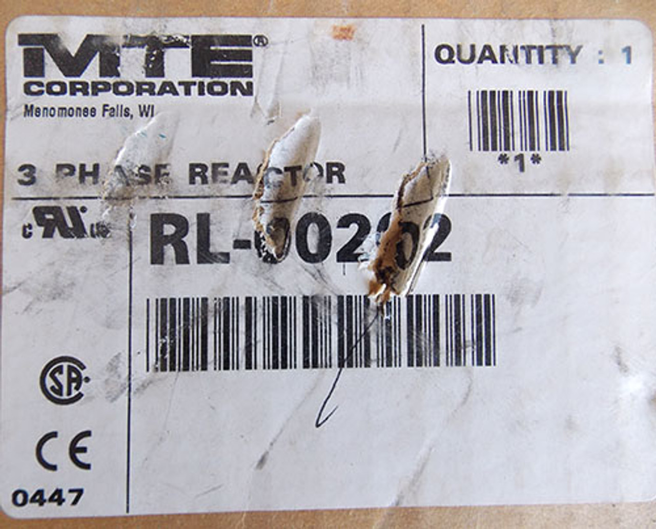 MTE RL-00202 3 Phase Line Reactor, 2 Amps, 20.0mH, Open - New