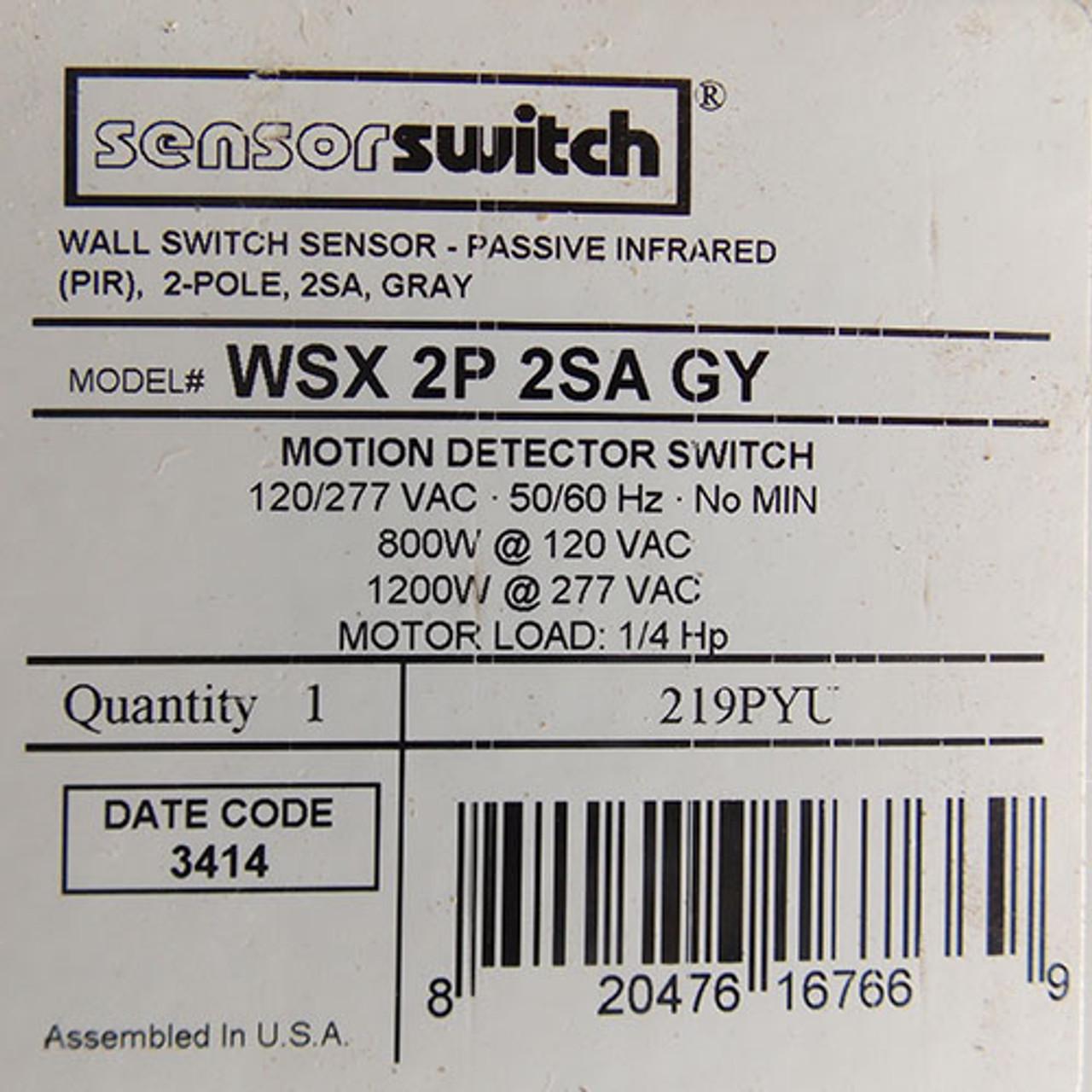 SensorSwitch WSX2P2SAGY Wall Switch Occupancy Sensor, Passive Infrared, Gray - New