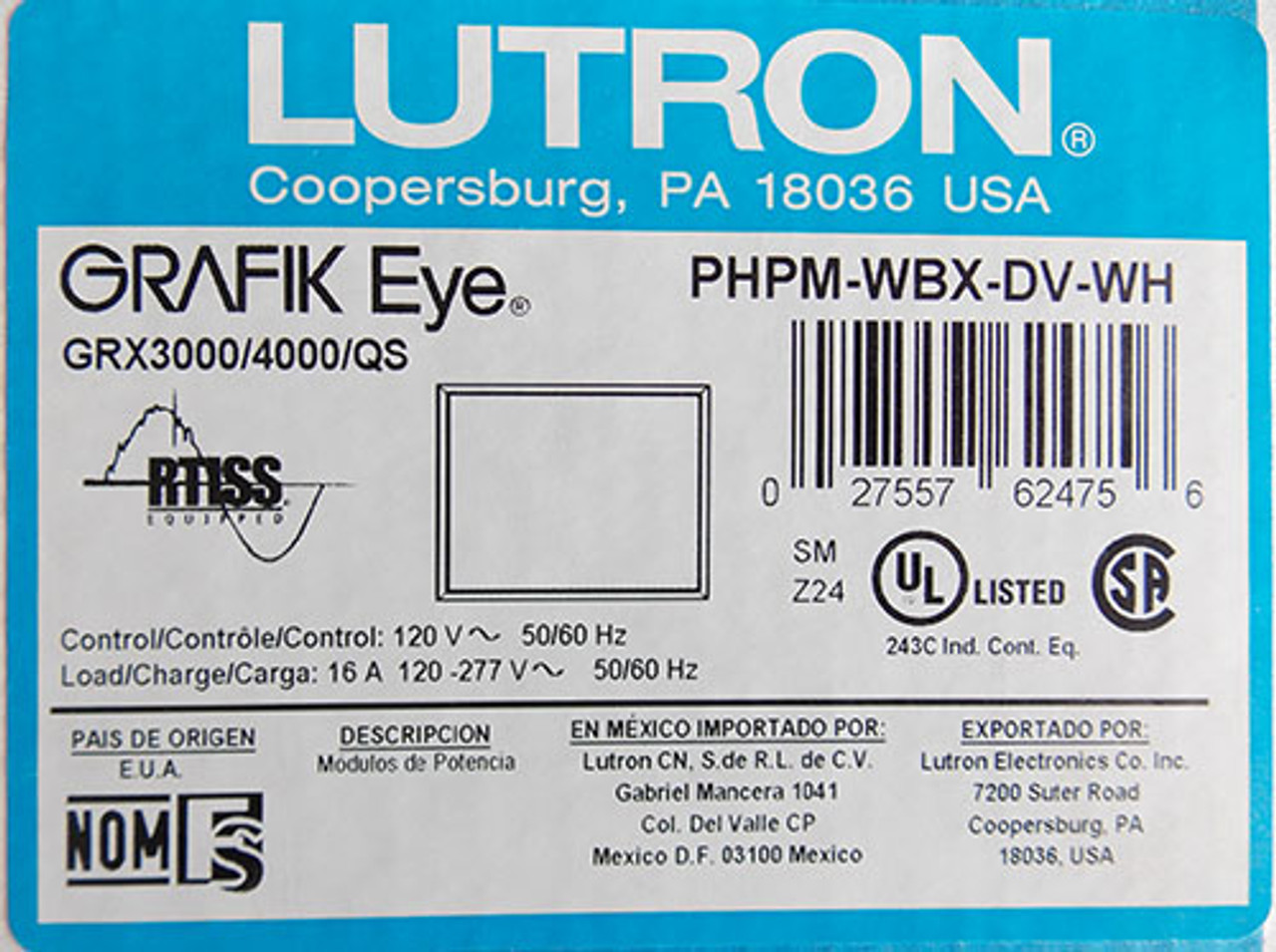 Lutron PHPM-WBX-DV-WH Grafik Eye Phase Adaptive Power Module 120V 50/60 Hz - New
