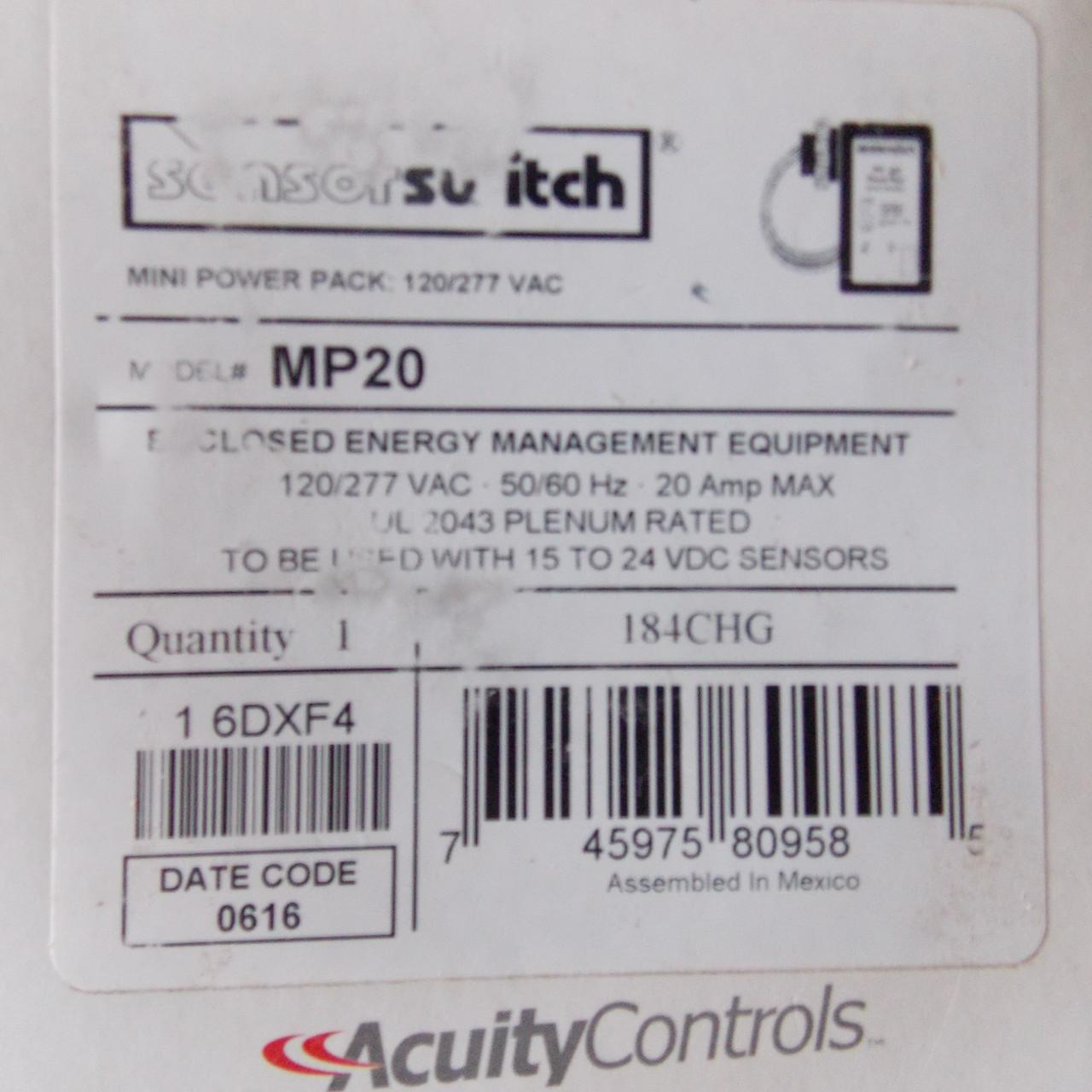 sensorswitch PP-20 Power Pack 120//277 VAC 20 Amp for 15 TO 24 VDC Sensors
