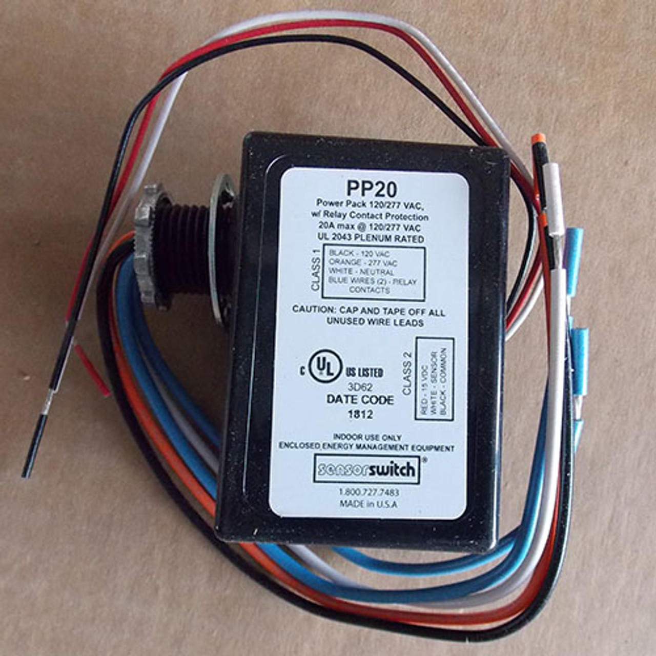 SensorSwitch PP20 Powerpack, Relay Circuit Protection 120/277V 20A - New