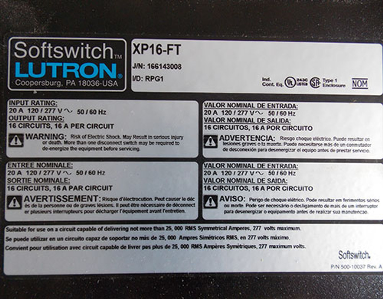 Lutron XP16-FT Softswitch Power Panel 16 Circuit 120/277V 60Hz 20 Amp - New
