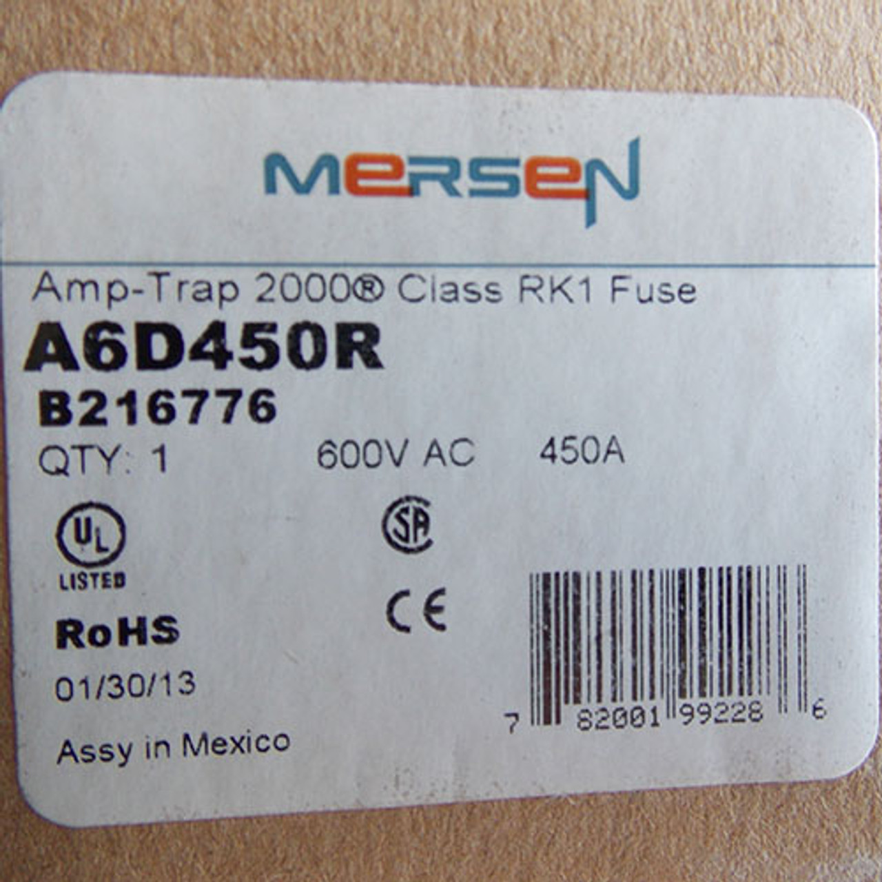 Mersen Ferraz Shawmut Amp-Trap 2000 A6D450R 450A 600V RK1 Time-Delay  Fuse - New