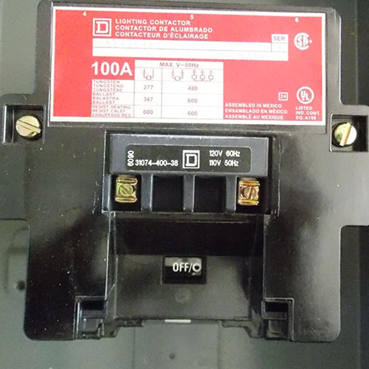 Square D 8903 SQO2 Lighting Contactor 100a Amp 277v-ac