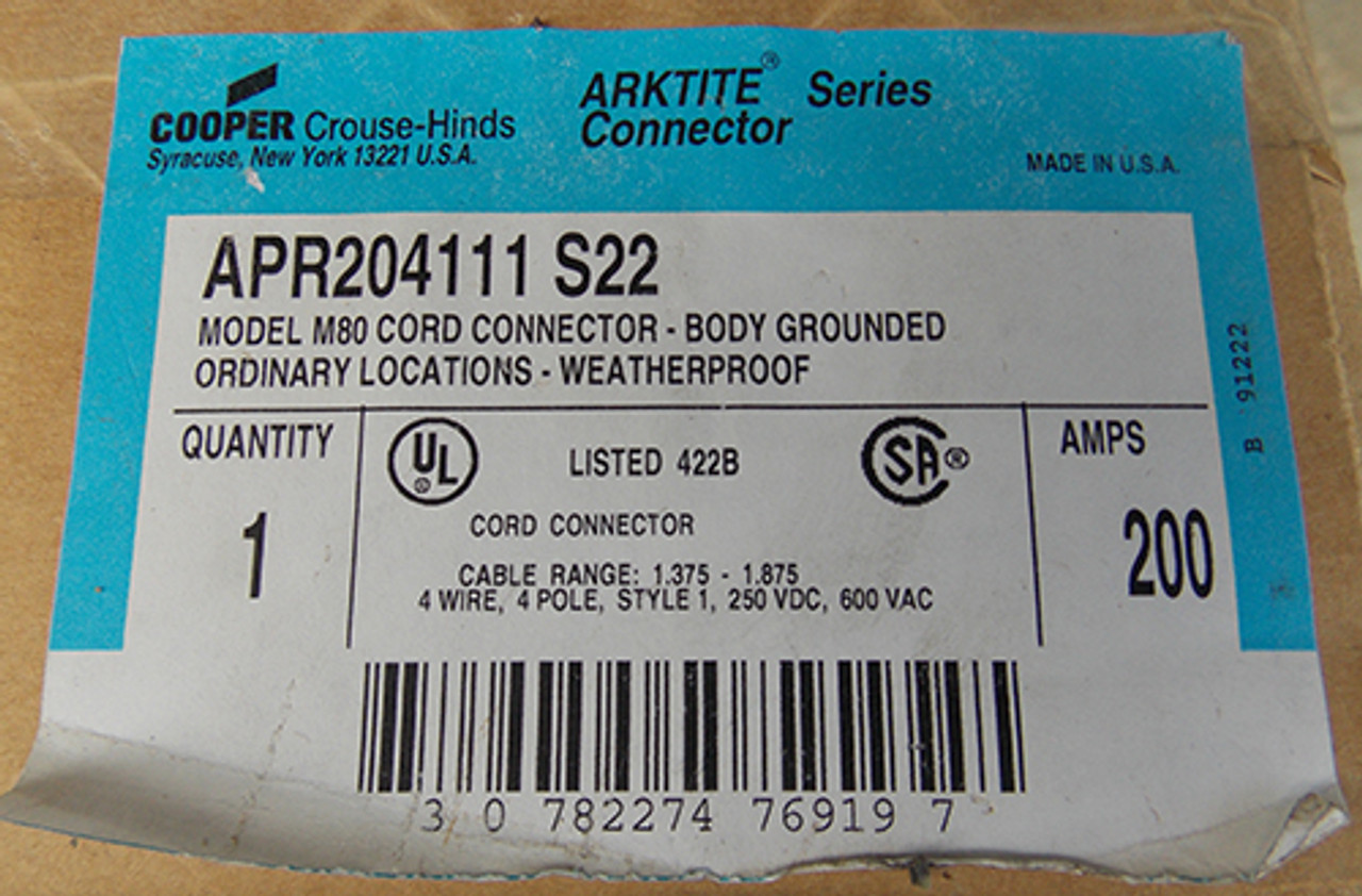 Cooper Crouse-Hinds APR204111 S22 Model M80 Arktite® Cord Connector - New