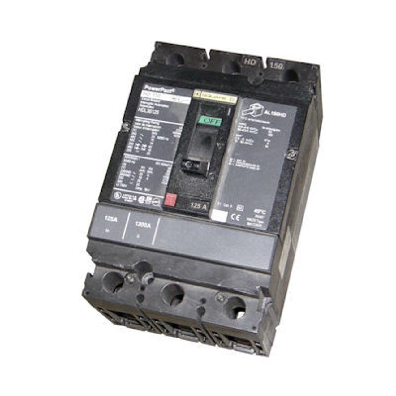 Square D HGL36125 3 Pole 125 Amp 600VAC 35K MC Circuit Breaker - Used