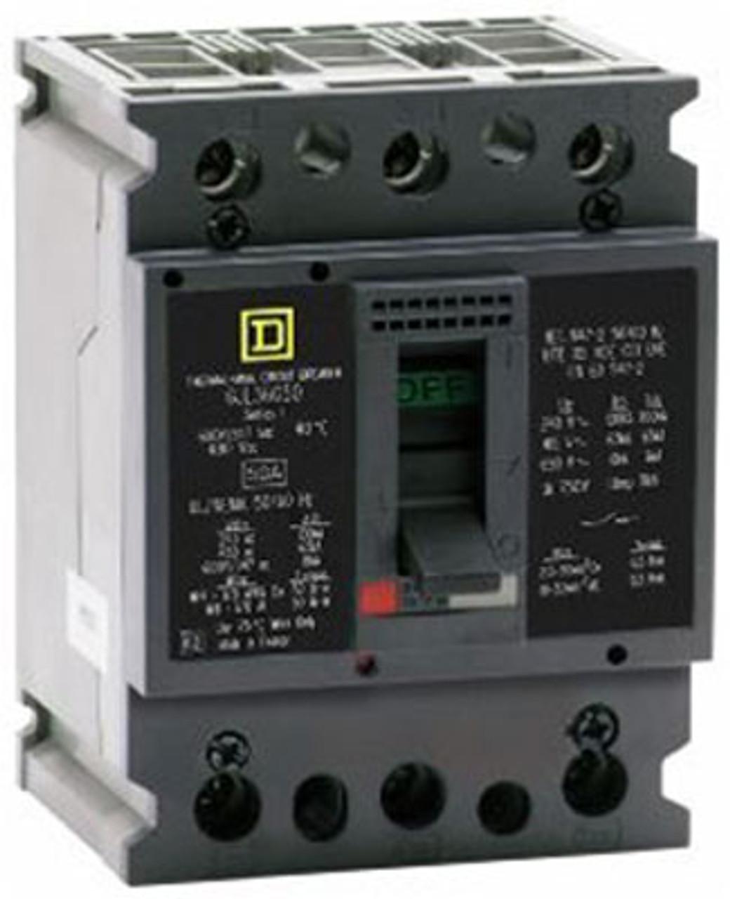 Square D GJL36020 3 Pole 20 Amp 600VAC MC Circuit Breaker - Used