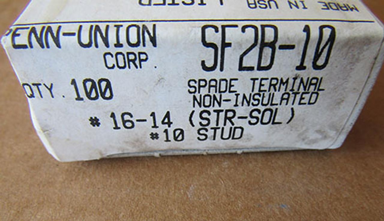 Penn-Union Corp SF2B -10 Spade Terminal Non-Insulated #16-14 (STR-SOL) 100Pc - New