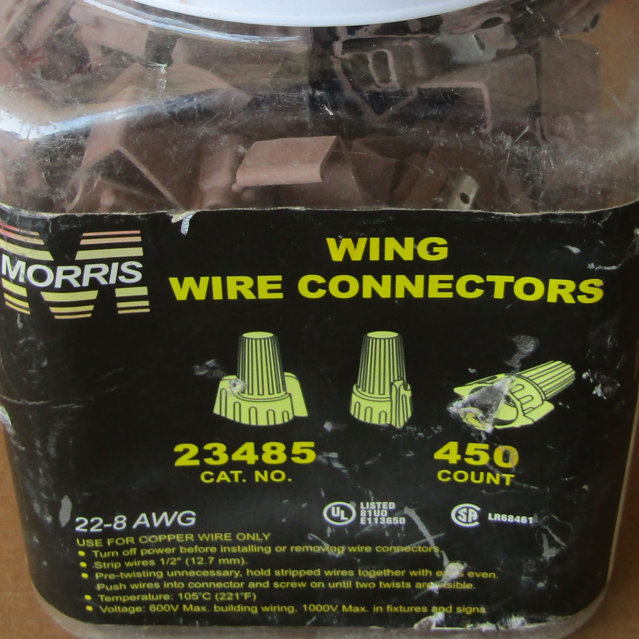 Morris 23485 Wing Wire Connectors 22-8 AWG Tan 450 Count - New