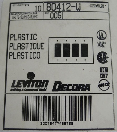 10Pc Leviton Decora 80412-W 4 Gang GFCI Device Wallplate White New