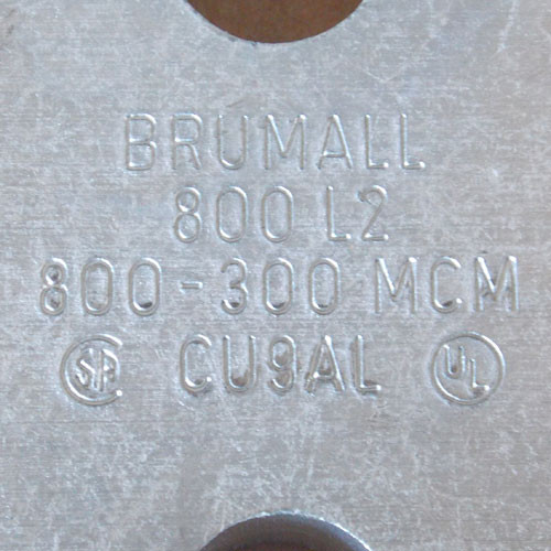 2Pc Brumall 800L2 800 - 300 MCM Single Hole Lug CU9AL New