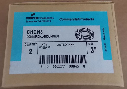 "2Pc Cooper Crouse-Hinds CHGN8 3"" Commercial Ground Nut - New"