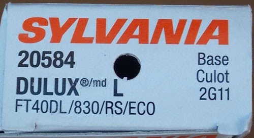 2Pc Sylvania FT40DL/830/RS/ECO 20584 40 Watt 4 Pin Dulux Fluorescent Lamp New