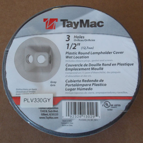 "2Pc TayMac PLV330GY 3 Hole 1/2"" Plastic Round Lampholder Cover Wet Location New"