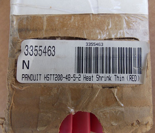"Panduit HSTT200-48-5-2 Red 48"" 5-2 Heat Shrink Thin Red (4Pc) - New"