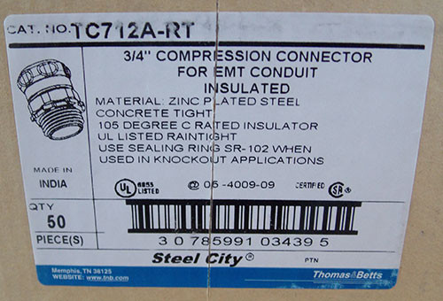 "T&B TC712-ART 3/4"" Steel-Zinc Insulated Compression Connector (4Pc) - New"