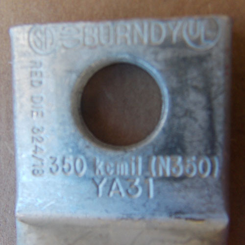 Burndy YA31 350 MCM Single Hole Crimp Lug (5Pc) - New