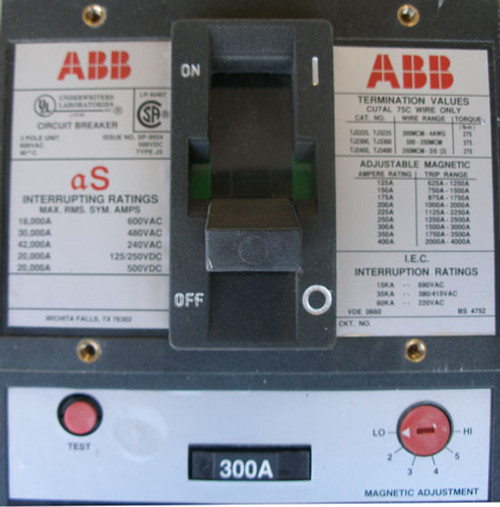 ABB TJ2300 3 Pole 300A 600V Circuit Breaker Interruptor - New