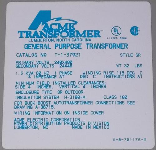 ACME T-1-37921 1.5 KVA 240x480 to 24/48 1PH Buck Boost Transformer N3R - New