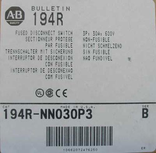 Allen Bradley 194R-NN030P3 3P 30A 600V Non-Fused Disconnect Switch - New