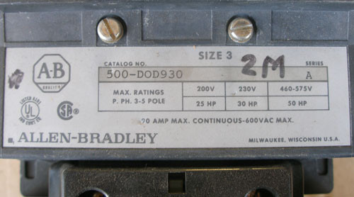 Allen Bradley 500-DOD930 Size 3 90A 120V Coil 3P Contactor - Used