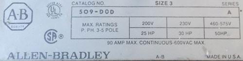 Allen-Bradley 509-DOD Size 3 Magnetic Contactor 90A 600V 3P 120V Coil - Used