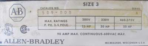 Allen-Bradley 509-DOD Size 3 Starter 3 Pole 120 Volt Coil Open - Used