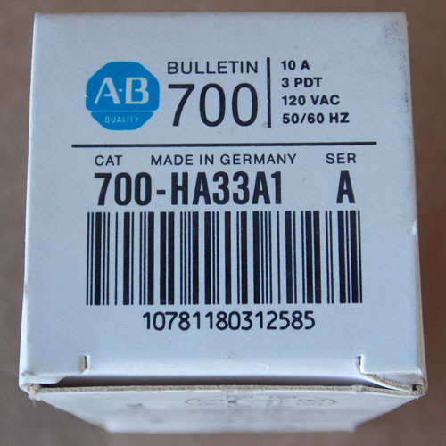 Allen-Bradley 700-HA33A1 Power Relay 10 Amp 3 PDT 120 VAC - New