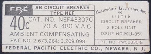American/FPE NEF433070 3 Pole 70 Amp 480VAC Circuit Breaker - New