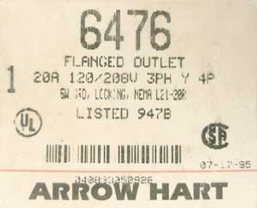 Arrow Hart 6476 20 Amp 120/208 Volt 4 Pole Flanged Outlet - New