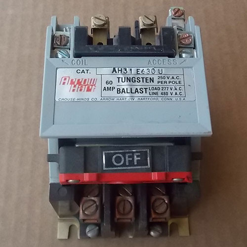 Arrow Hart Controls AH31E630U Magnetic Contactor 60A 3 Pole 480V Coil - Used