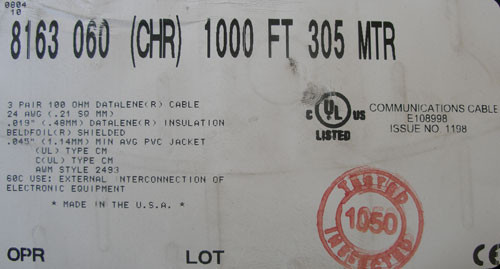 Belden 8163 060 CHR 1000Ft. 24 AWG 3 Pair 100 OHM Datalene Cable - New