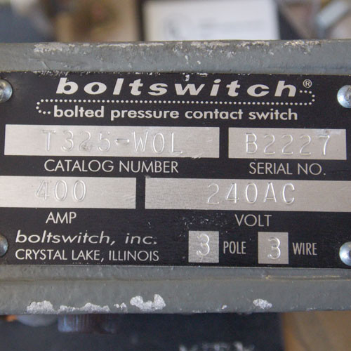 Boltswitch T325-W0L 400 Amp 240 Volt 3 Pole 3 Wire Fusible Switch - Used