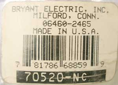 Bryant 70520-NC 20 Amp 125 Volt 2 Pole Locking Plug - New