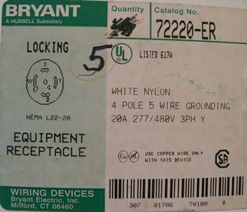 Bryant 72220-ER Locking Nema L22-20 Equipment Receptacle - New