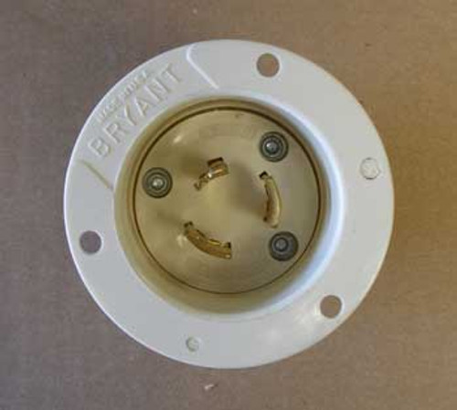 Bryant 7327 3 Pole 3 Wire 20 Amp 125/250V Flanged Inlet - New