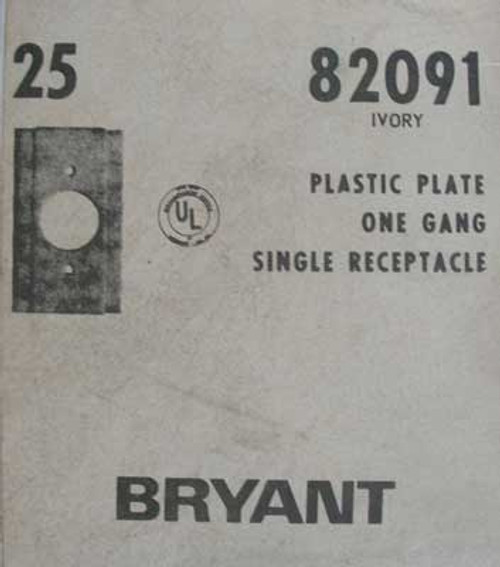 25Pc Bryant 82091 Ivory Plastic 1 Gang Single Receptacle Wallplate  - New