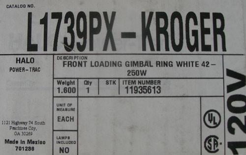 Cooper Halo L1739PX KROGER 120V 250W Front Loading Gimbal Ring White