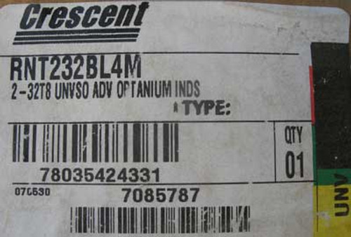 Crescent RNT232BL4M 8' Tandem Light Fixture 2Lamp 32W (T8) 120/277V - New