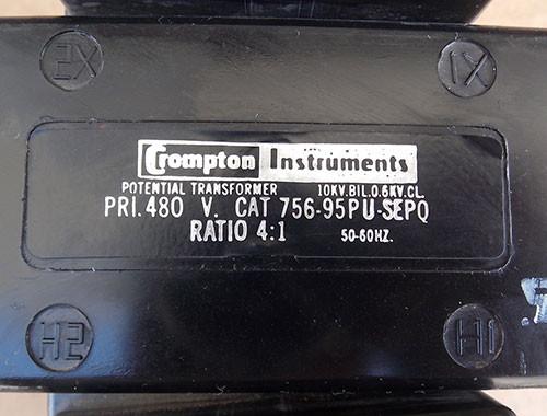 Crompton Instruments 756-95PU-SEPQ 10KV 480 Pri Volts Potential Transformer - Used