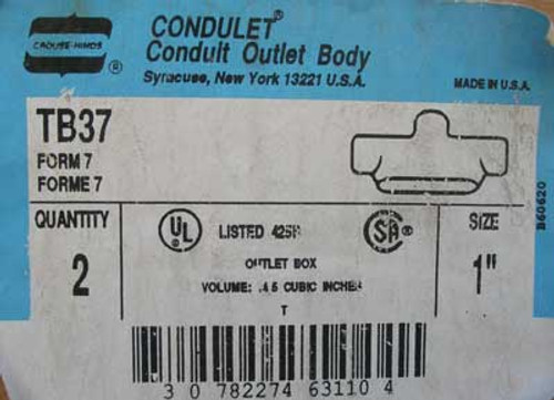 "Crouse Hinds TB37 Conduit Outlet Body, 1""  (Lot of 2) - New"