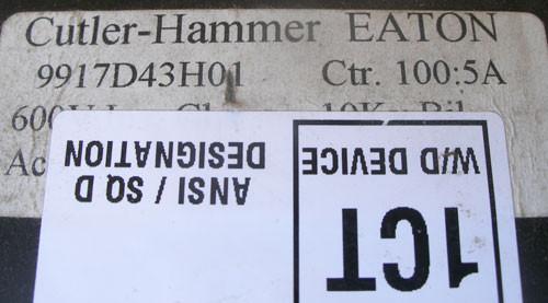Cutler Hammer 9917D43H01 Current Transformer 100:5A RATIO 50/400Hz