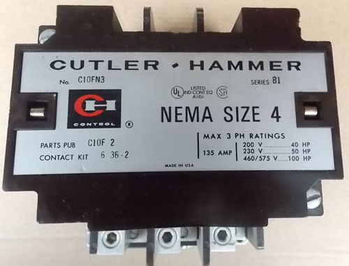Cutler Hammer C10FN3 Size 4 Magnetic Contactor 135A 480V Coil 3PH - Used