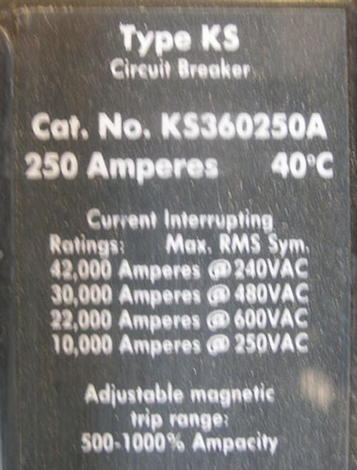 Cutler Hammer KS360250A 3P 250A 600V Circuit Breaker - Used